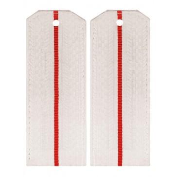 Погоны ВС белые 1 красная полоска на парадную рубашку младшего офицерского состава пластик (уставные)