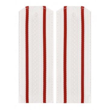 Погоны ВС белые 2 красные полоски на парадную рубашку пластик (уставные)