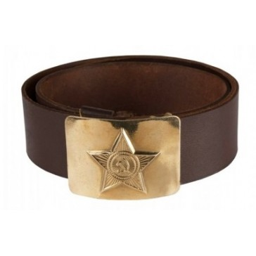 Ремень солдатский с латунной бляхой звезда ссср (коричневый)