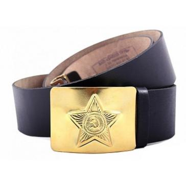 Ремень солдатский с латунной бляхой звезда ссср (кожаный коричневый)