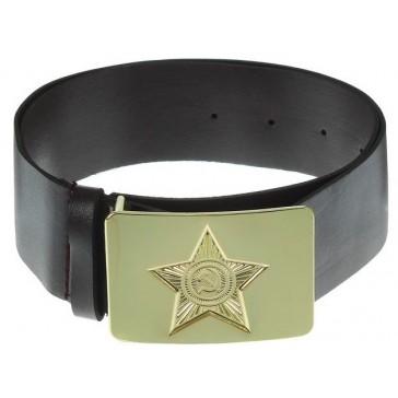 Ремень солдатский с латунной бляхой звезда ссср (черный)