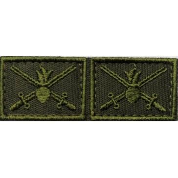 Петличные эмблемы Сухопутные Войска вышитые полевые на липучке (уставные)№3
