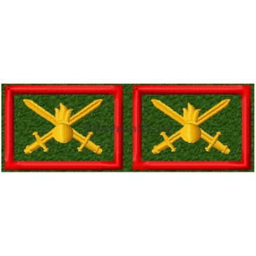 Петличные эмблемы Сухопутные Войска вышитые оливковые красный кант на липучке (уставные)№1
