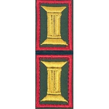 Петличные эмблемы (катушки) СВ офицерские на офисную форму красный кант оливковые на липучке (уставные)№2