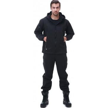 Тактический демисезонный костюм Softshell на флисе (черный)