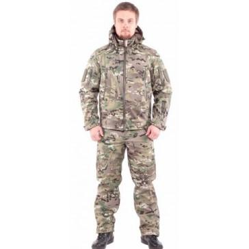 Тактический демисезонный костюм Softshell на флисе (мультикам)