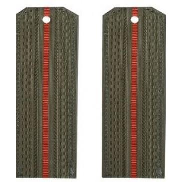 Погоны СВ оливковые 1 красная полоска на офисную форму младшего офицерского состава пластик (уставные)