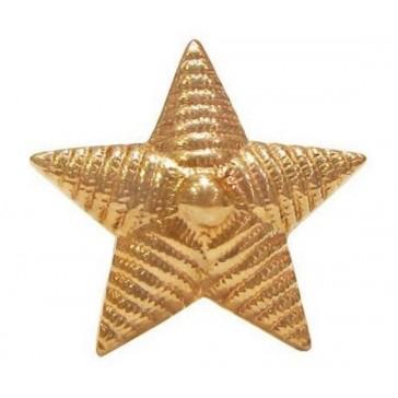 Звезда на погоны большая рифленая 20 мм  золотистая