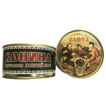 "Мясо Конина тушеное ""ОХОТА"" 325 гр"