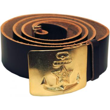 Ремень солдатский с пряжкой латунной «ВМФ СССР» (кожаный черный)