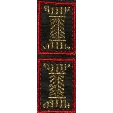 Петличные эмблемы (катушки) Сухопутных Войск офицерские оливковые красный кант на липучке (уставные)