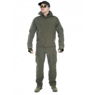 Тактический демисезонный костюм Softshell на флисе (олива)