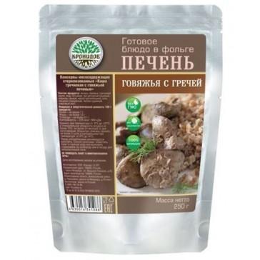 Печень говяжья с гречневой кашей стерилизованные 250 гр (кронидов)