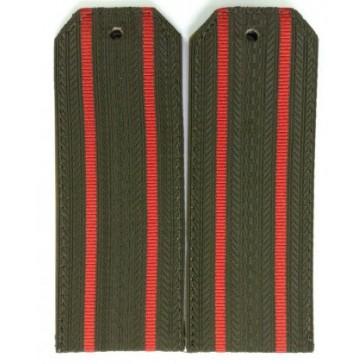 Погоны СВ оливковые 2 красные полоски на офисную форму пластик (уставные)