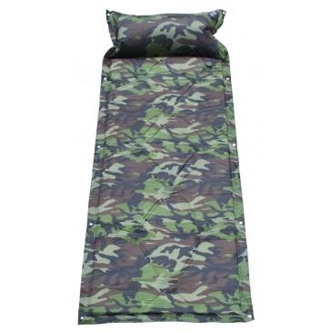 Туристический коврик самонадувающийся с подушкой (камуфляжный)