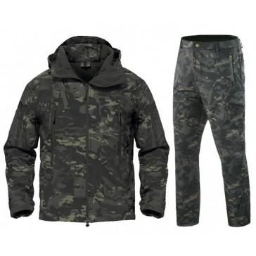 Тактический демисезонный костюм Softshell на флисе (чёрный мультикам)